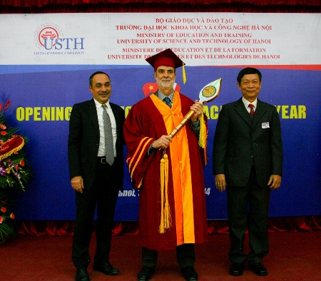 Prof. Dr. Pierre Sebban – Former Rector, Prof. Dr. Patrick Boiron – Prof. Dr. Le Tran Binh – Vice Rector of USTH (from left to right)